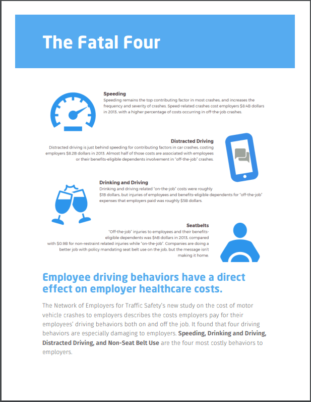The Fatal Four driving behaviors that have a direct effect on employer healthcare costs - Speeding, Distracted Driving, Drinking and Driving, Seat Belts.